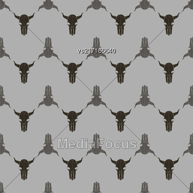 Bull Skull Silhouette Seamless Pattern. Animal Background Stock Photo