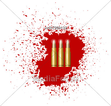 Bullet Set Isolated On Red Blood Splatter Stock Photo