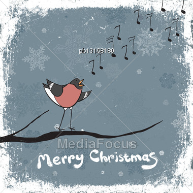 Bullfinch Singer. Vintage Xmas Illustration, Vector, EPS8 Stock Photo