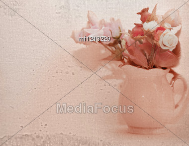 Bunch Of Flower In Vase. Romantic Greeting Card Stock Photo