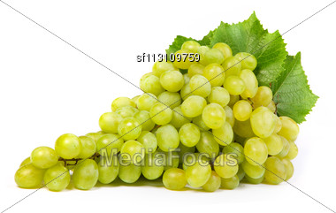 Bunch Of Fresh Grapes Isolated On White Stock Photo