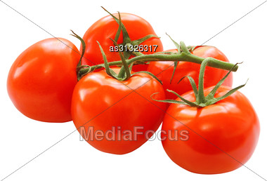 Bunch Of Red Tomatoes Isolated On A White Background Stock Photo