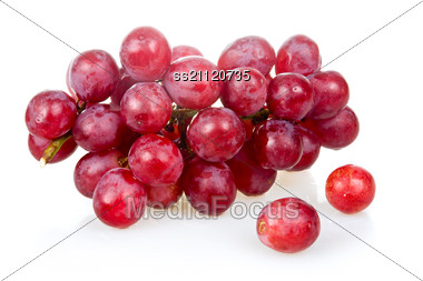 Bunch Of Ripe Pink Grapes Stock Photo