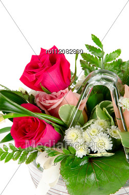 Bunch Of Roses In A Vase Stock Photo