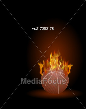 Burning Basketball Orange Ball Icon Isolated On Black Background Stock Photo