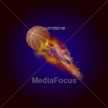 Burning Basketball Orange Ball Icon Isolated On Blue Background Stock Photo
