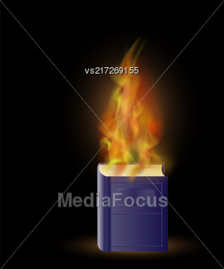 Burning Blue Book With Fire Flame Isolated On Black Background Stock Photo