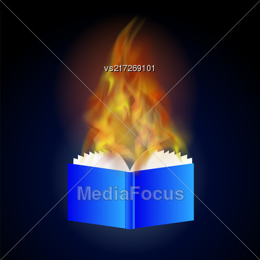 Burning Blue Paper Book With Fire Flame Isolated On Blue Background Stock Photo