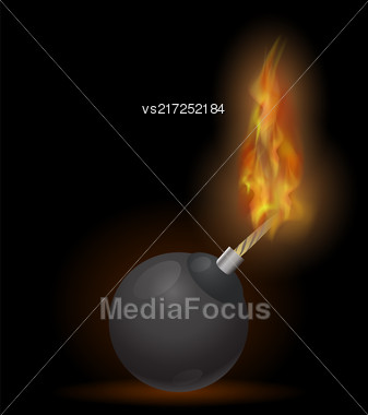 Burning Bomb Icon Isolated On Black Background Stock Photo