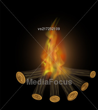 Burning Bonfire And Flames Isolated On Black Background Stock Photo