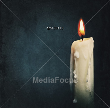 Burning Candle Over Black. Is Not Isolated, Just Shot On Black Stock Photo