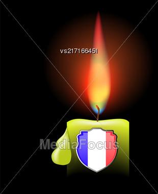 Burning Candle And Shield Isolated On Dark Background Stock Photo