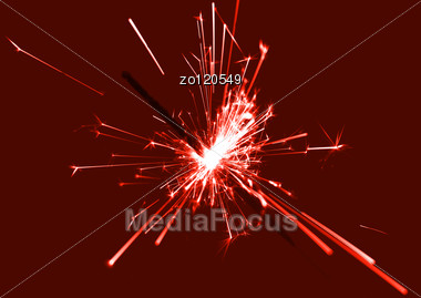 Burning Christmas Sparkler Abstract Christmastime Background Stock Photo