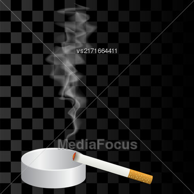 Burning Cigarette And Ashtray Isolated On Checkered Background Stock Photo