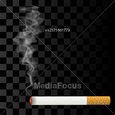 Burning Cigarette Isolated On Checkered Background. Transparent Smoke Stock Photo