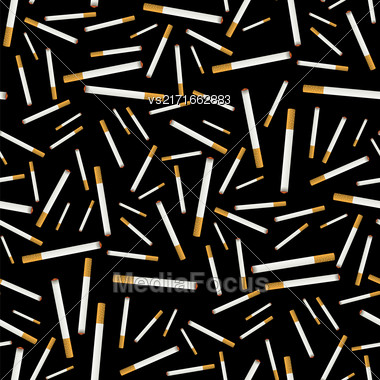 Burning Cigarette Seamless Pattern On Black Background Stock Photo