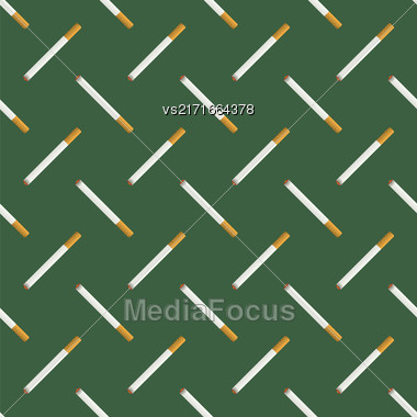 Burning Cigarette Seamless Pattern On Green Background Stock Photo