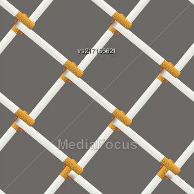 Burning Cigarette Seamless Pattern On Grey Background Stock Photo