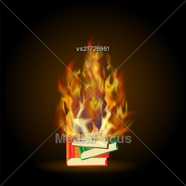 Burning Colored Books With Fire Flame Isolated On Black Background Stock Photo