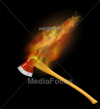 Burning Firefighter Axe Icon With Fire Flame Isolated On Black Background Stock Photo