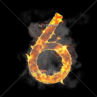Burning Flame Font 6 Numeral Over Black Background - Stock