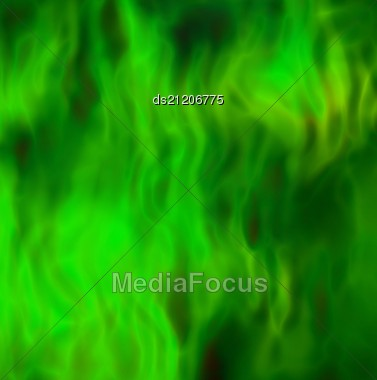 Burning Flames Of The Green Color Background Stock Photo