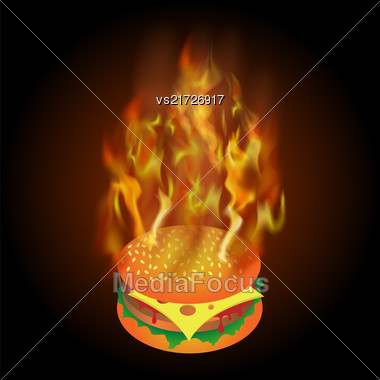 Burning Fresh Hamburger With Fire Flame Isolated On Black Background Stock Photo