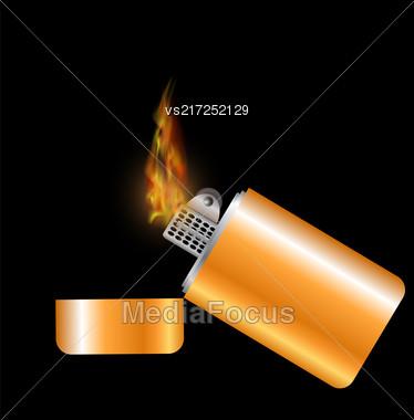Burning Gold Lighter Isolated On Black Background Stock Photo