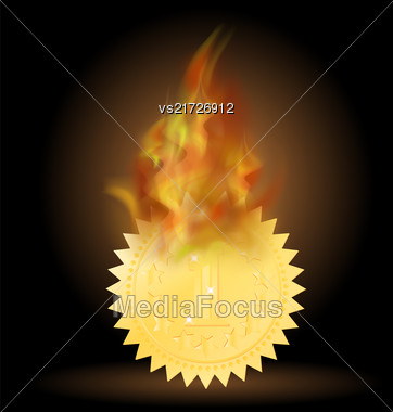 Burning Gold Medal Icon With Fire Flame Isolated On Black Background Stock Photo
