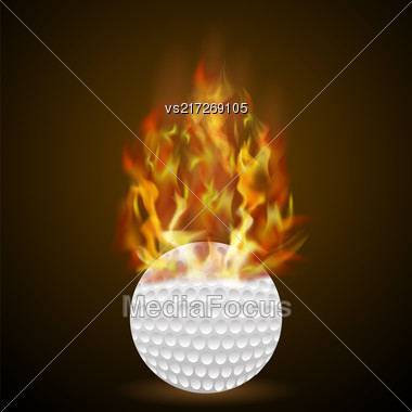Burning Golf Ball With Fire Flame On Black Background Stock Photo