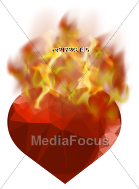 Burning Heart With Fire Flame Isolated On White Background Stock Photo