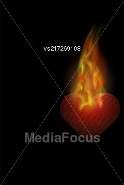 Burning Heart Sticker With Fire And Flame Isolated On Black Background Stock Photo