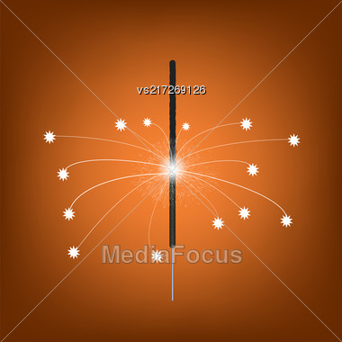 Burning Indian Light Sparkler. Bengal Fire Firework Isolated On Orange Gradient Background. Salute For Celebration Stock Photo