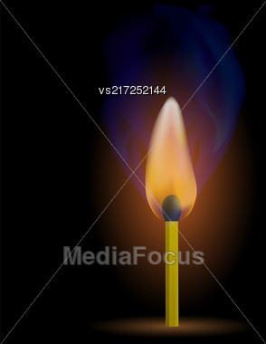 Burning Match With Fire Flame Isolated On Black Background Stock Photo