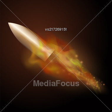 Burning Metal Bullet With Fire Flame Isolated On Dark Background Stock Photo