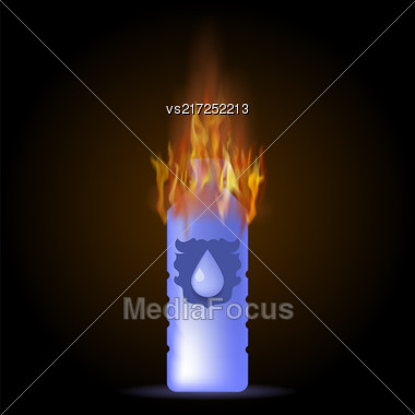 Burning Mineral Water Plastic Bottle On Dark Background Stock Photo