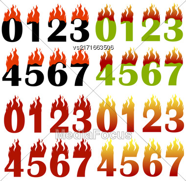 Burning Numbers Isolated On White Background. One Two Three Figures In Fire Stock Photo