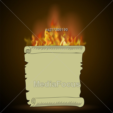 Burning Old Paper With Fire Flame Isolated On Black Background Stock Photo