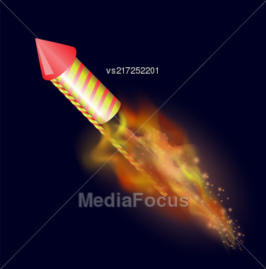 Burning Petard With Fire Flame Isolated On Dark Blue Sky Background Stock Photo