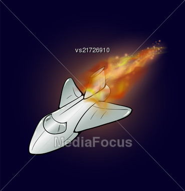Burning Plane With Fire Flame Isolated On Blue Sky Background Stock Photo