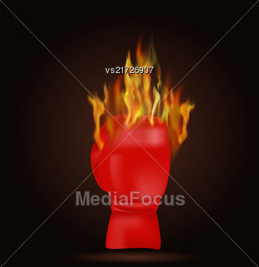 Burning Red Glove With Fire Flame Isolated On Black Background Stock Photo