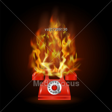 Burning Red Phone With Fire Flame Isolated On Black Background Stock Photo