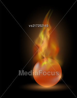 Burning Red Sphere Isolated On Black Background. Ball On Fire Flame Stock Photo