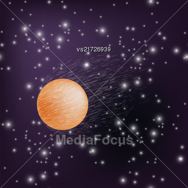 Burning Red Sphere On Blue Star Sky Background Stock Photo