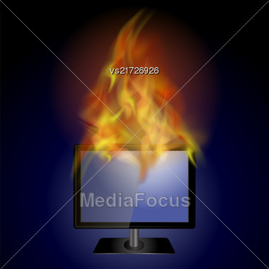 Burning Screen Monitor With Fire Flame On Blue Background Stock Photo