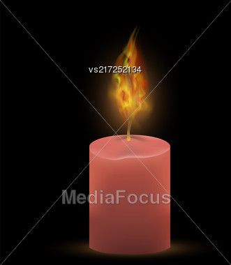 Burning Single Pink Candle Isolated On Black Background. Bright Fire Flame Stock Photo