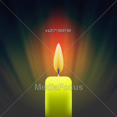 Burning Single Yellow Candle On Dark Wave Background Stock Photo