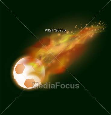 Burning Sport Football Icon With Sparcles And Flares On Dark Background Stock Photo