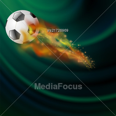 Burning Sport Football Icon With Sparcles And Flares On Dark Green Background Stock Photo