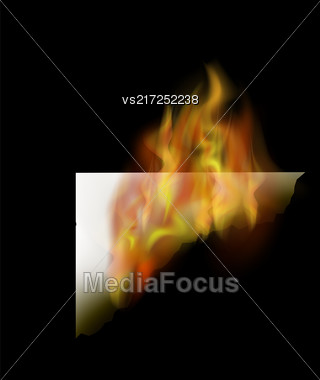 Burning White Paper With Fire Flame Isolated On Black Background Stock Photo